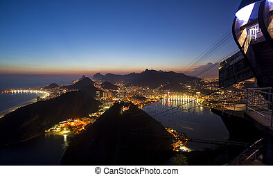 Night views of Rio De Janeiro Brazil from Sugar Loaf Mountain