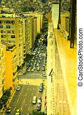 Rio De Janeiro Brazil - Yellow lit streetscape in Copacabana...