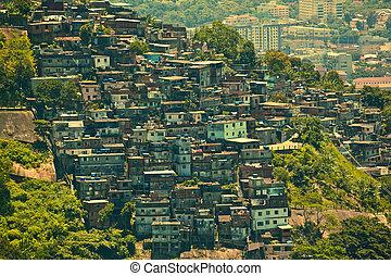 Favela in Rio De Janeiro Brazil - Favela or slum seen from...