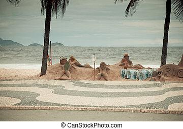 Beach sculptures Copacabana Rio De Janeiro Brazil - artists...