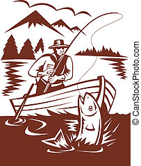 Fly fisherman catching trout on boat done in woodcut style -...