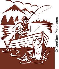 mosca, pescador, pegando, truta, bote, Feito, woodcut,...