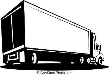 Truck and trailer isolated on white background