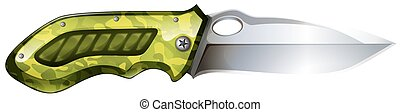 Pocket knife with green grib illustration
