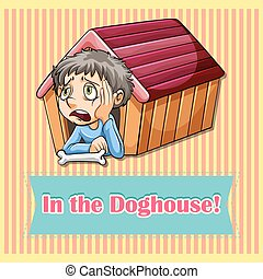 Idiom in the doghouse illustration