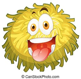Fluffy ball with happy face illustration