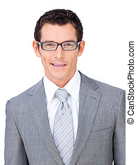 Charismatic businessman wearing glasses against a white...