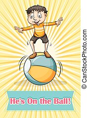 Boy balancing on the ball illustration