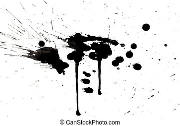 grunge black ink spots isolated on white