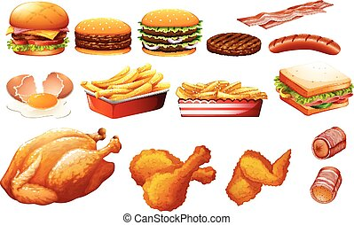 Fastfood in various types illustration