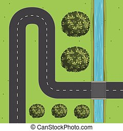 Empty road by the river illustration