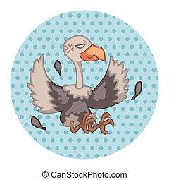 uccello, condor, cartone animato, tema, elementi, vector,...