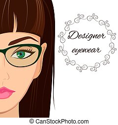 Attractive woman in spectacles. Optician, stylish glasses...