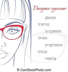 Woman in glasses. Optician consept. Stylish glasses and...