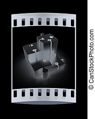 Concept of growth of metall puzzles. The film strip -...