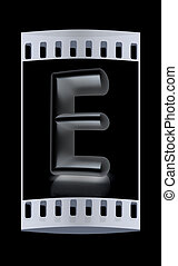 "3D metall letter ""E"". The film strip"