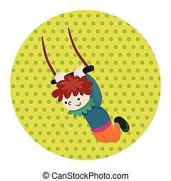 Circo, voando, trapézio, tema, elementos,