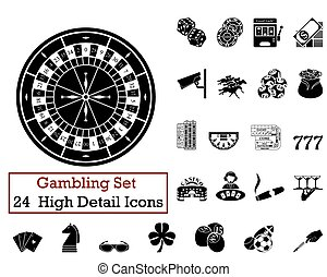 24 Gambling Icons - Set of 24 Gambling Icons in Black Color.