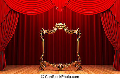 red curtains, gold frame