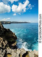 coastline at Nusa Penida island near Pasih Uug Broken Beach,...