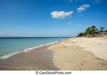 dream beach, Bali Indonesia, Nusa Penida island with blue...