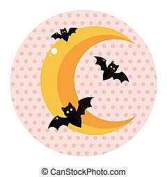 Halloween moon theme elements