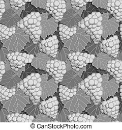 Grapes and Leaves Grayscale - Seamless background pattern of...