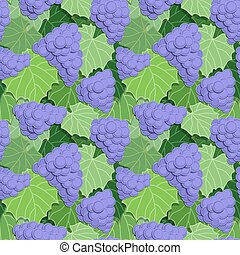 Grapes and Leaves - Seamless background pattern of grapes...