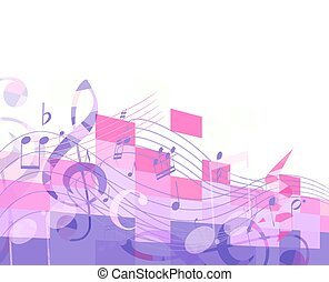abstract purple musical background with key and notes, musical signs