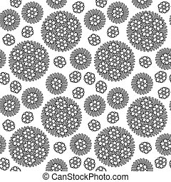 Seamless Circular Floral Pattern Grayscale