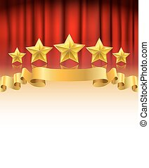 red curtain with golden stars and a ribbon background with white space