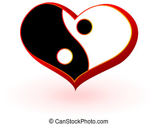 Symbol of heart with the Chinese symbolics of the mans and...