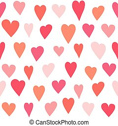 Stylized heart seamless pattern. White isolated vector...