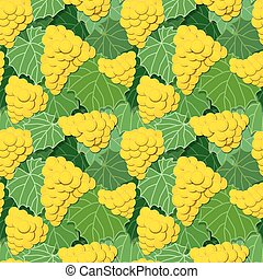 Yellow Grapes and Leaves - Seamless background pattern of...
