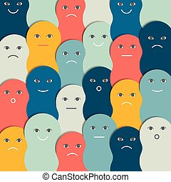 Color stylized people pattern, background. Vector illustration.