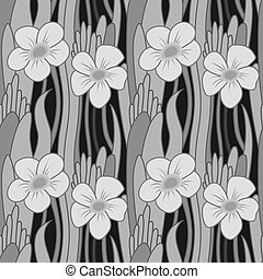 Seamless grayscale flower - Seamless pattern with flower in...