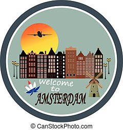Welcome to Amsterdam - Vintage greeting card
