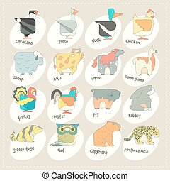 Flat design vector animals icon set Zoo children cartoon...