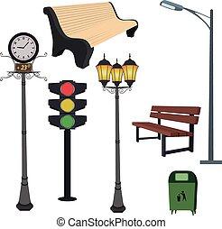 City objects- dustbin, lamppost,street hours, traffic light,...