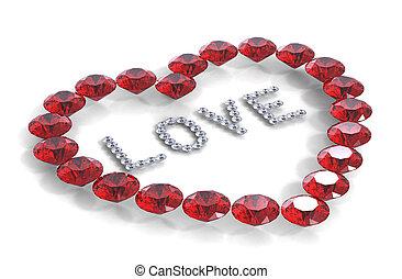 corazón, amor, palabra, diamantes