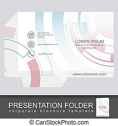 Abstract corporate folder with die cut, technology pattern