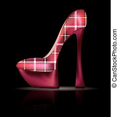 large plaid shoe - dark background and the red plaid ladys...