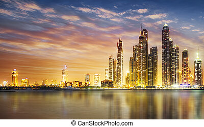 Dubai marina during twilight - Dubai Marina skyline as seen...