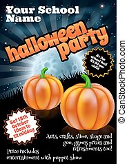 Halloween Party Poster - School childrens Halloween Party...