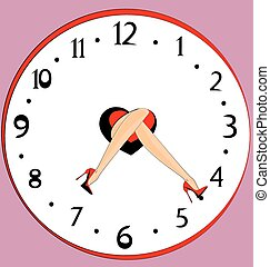 feet and clock - clock and abstract female legs with red...