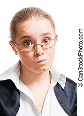Woman show misunderstanding - Young woman wear glasses and...