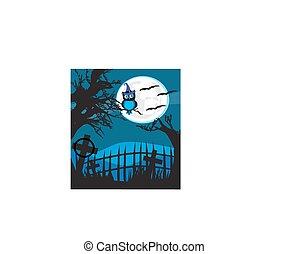 Halloween illustration owl on moon background.