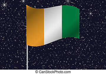 3D Flag Illustration waving in the night sky of the country...