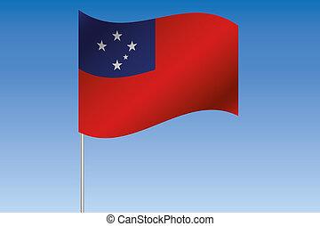 3D, bandiera, illustrazione, ondeggiare, in, il, cielo, di,...