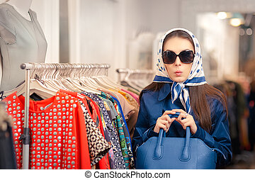 Curious Girl in Raincoat Shopping - Surprised retro young...